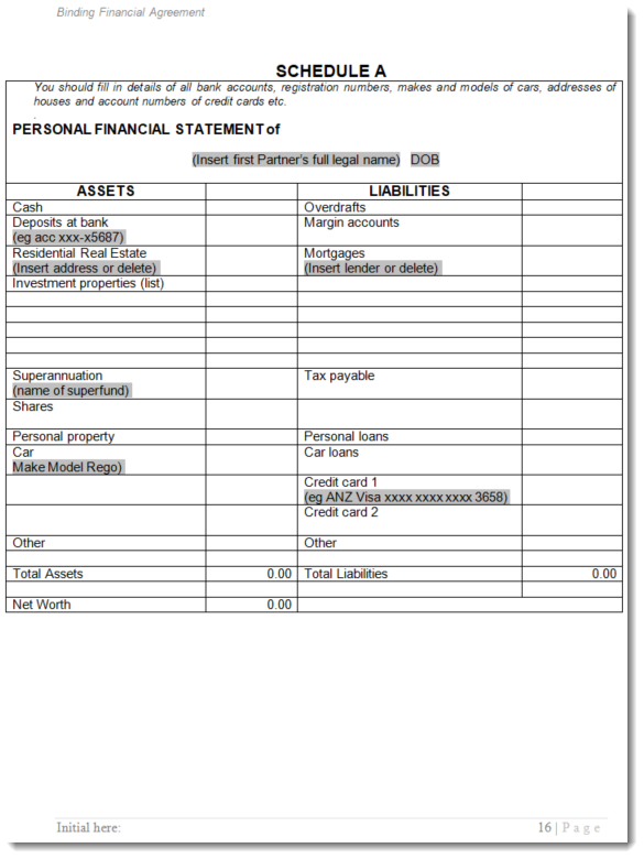 sample assets and liabilities binding financial agreement 90UB