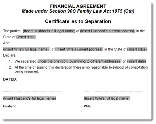 Separation agreement template sample 3